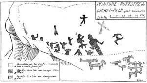 Peintures rupestres en Tunisie Crédit Photo Bulletins et Mémoires de la Société d'anthropologie de Paris, VI° Série, tome 2, 1911. pp. 31-32