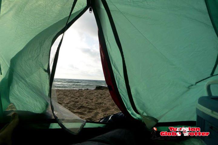 Vue le matin au reveil Camping Tunisie